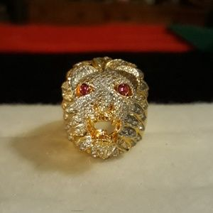 Iced Out Lions Head Ring